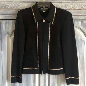 St. John Black Santana Knit and Suede Jacket